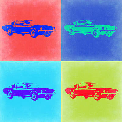 Cars Painting - Ford Mustang Pop Art 2 by Naxart Studio