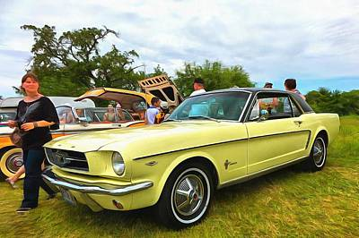 Beaches And Waves Rights Managed Images - Ford Mustang Yellow Royalty-Free Image by Mick Flynn