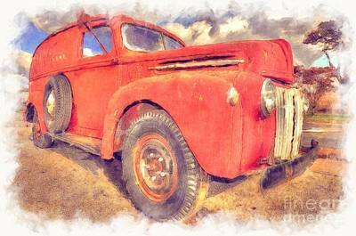 Ford Panel Truck Art Print by Liane Wright