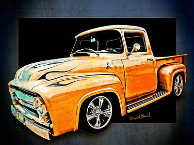 Ford Pickup In Flaming Gold Art Print
