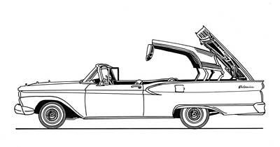 Drawing - Retractable Ford Top Going Down by Jack Pumphrey