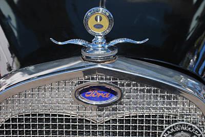 Photograph - Ford Royce Motometer Hood Ornament Black Hood by Heather Kirk