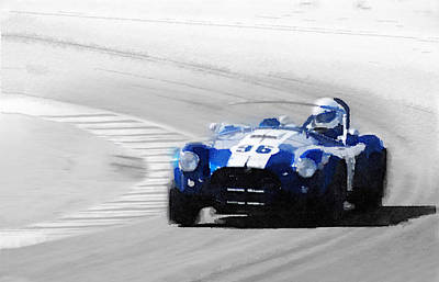 Cobra Wall Art - Painting - Ford Shelby Cobra Laguna Seca Watercolor by Naxart Studio