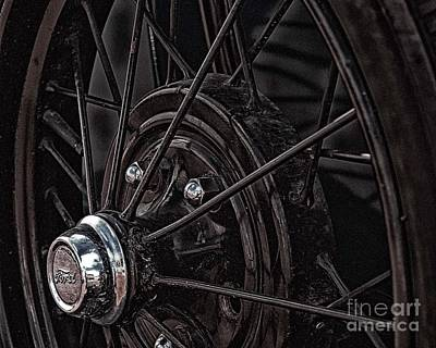 Art Print featuring the photograph Ford Spoke Wheel by JRP Photography
