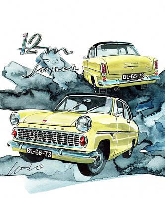 Taunus Painting - Ford Taunus 12m by Yoshiharu Miyakawa