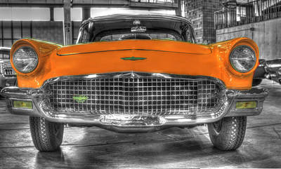 Antique Photograph - Ford Thunderbird Convertible Orange 2 by John Straton