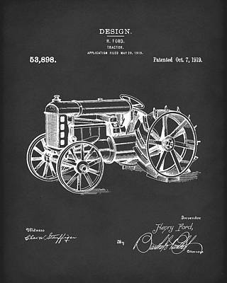 Tractor Drawing - Ford Tractor 1919 Patent Art Black by Prior Art Design