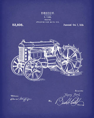 Tractor Drawing - Ford Tractor 1919 Patent Art Blue by Prior Art Design