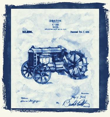 Old Barns Mixed Media - Ford Tractor Patent by Dan Sproul