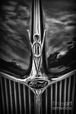 Automobile Hood Photograph - Ford V8 In Black And White by Paul Ward