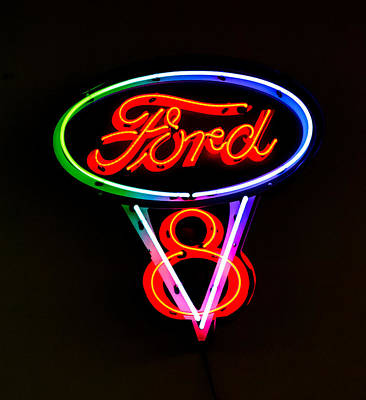 Ford V8 Photograph - Ford V8 Neon Sign by Jill Reger