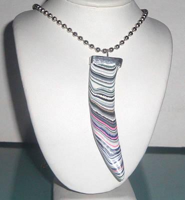 Sold - Fordite Cabochon Tusk Shaped Pendant Original by Robin Copper