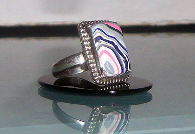 Fordite Detroit Agate Rectangular Cabochon Sterling Silver Ring Original by Robin Copper