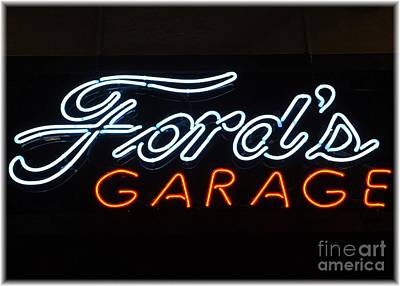 Photograph - Ford's Garage Neon Sign by Barbie Corbett-Newmin