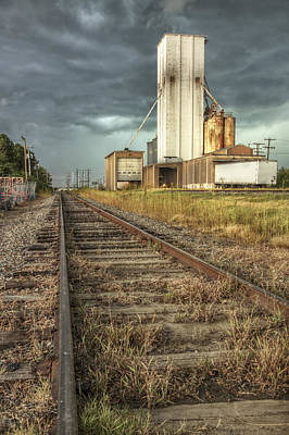 Photograph - Foreboding Sky Above A Prairie Sentinel - Storm - Railroad Tracks by Jason Politte