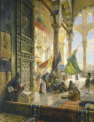 Snake Charmer Photograph - Forecourt Of The Ummayad Mosque, Damascus, 1890 Oil On Panel by Gustave Bauernfeind