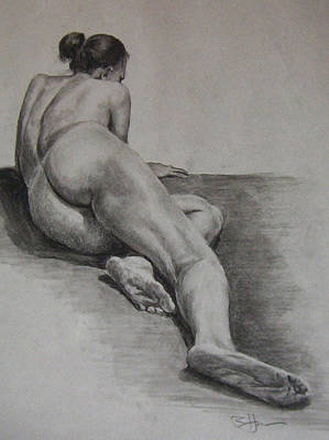 Foreshortened Nude Art Print by Rachel Hames