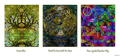 Mixed Media - Forest Altar World Crisis Peace by Michele Avanti
