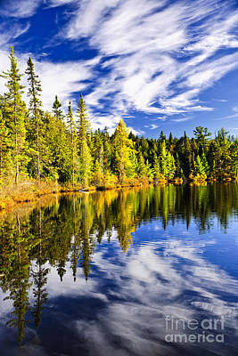 Forest And Sky Reflecting In Lake Art Print by Elena Elisseeva