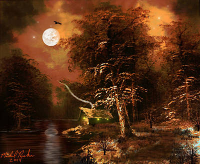 Rivers In The Fall Digital Art - Forest Cabin by Michael Rucker