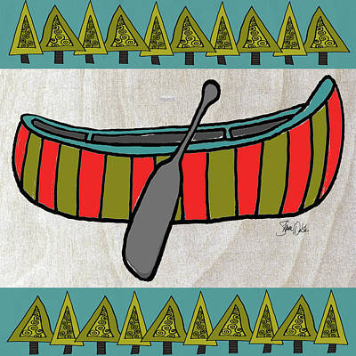 Canoe Painting - Forest-canoe by Shanni Welsh