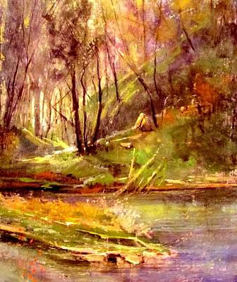 Painting - Forest Creek Sunrays by Joseph Barani