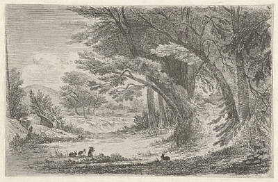 Bos Bos Drawing - Forest Edge With Rabbits, Jan Bos Wz by Jan Bos Wz.