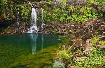 Photograph - Forest Falls - Magical Waterfall Along The Road To Hana In Maui by Jamie Pham