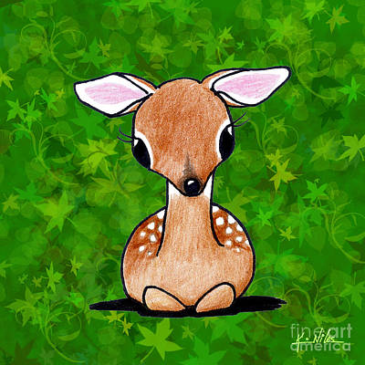 Cute Fawn Drawing - Forest Fawn by Kim Niles