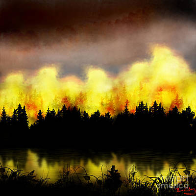 Digital Art - Forest Fire by Thomas OGrady