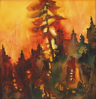 Wildfire Painting - Forest Fire#1 by Tonja Opperman