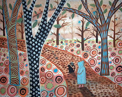 Primitive Folk Art Painting - Forest Garden by Karla Gerard