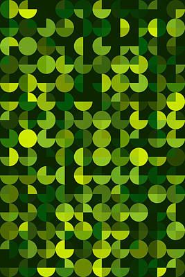 Forest Geometric Circle Pie Vertical Pattern Art Print by Frank Ramspott