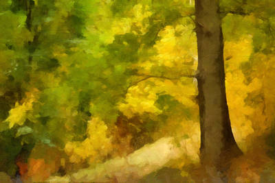 Autumn Trees Mixed Media - Autumn Forest Impression by Lutz Baar