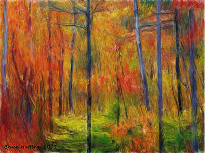 Art Print featuring the painting Forest In The Fall by Bruce Nutting