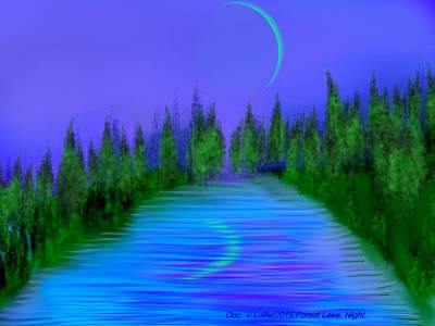 Digital Art - Forest Lake. Night. by Dr Loifer Vladimir