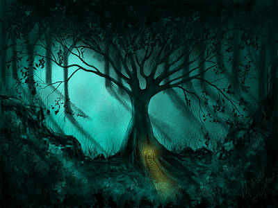 Painting - Forest Light Ethereal Fantasy Landscape  by Michelle Wrighton