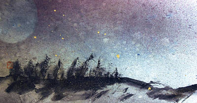 Contemplative Mixed Media - Forest Moon And Night Sky  by Peter v Quenter