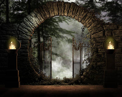 Medieval Entrance Digital Art - Forest Moon Gate by Suzanne Amberson