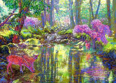 Water Gardens Painting -  Deer, Forest Of Light by Jane Small