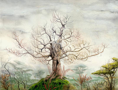 Mystical Landscape Painting - Forest Of Memories by Bjorn Eek