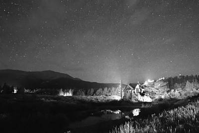 Saint Catherine Of Siena Chapel Photograph - Forest Of Stars Above The Chapel On The Rock Bw by James BO  Insogna