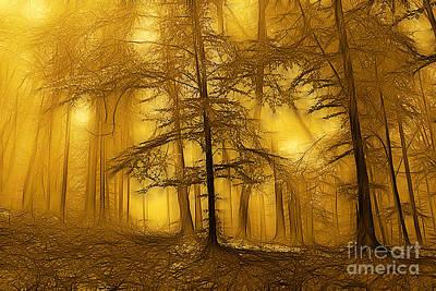 Woodlands Scene Digital Art - Forest On A Misty Autumn Morning by Odon Czintos