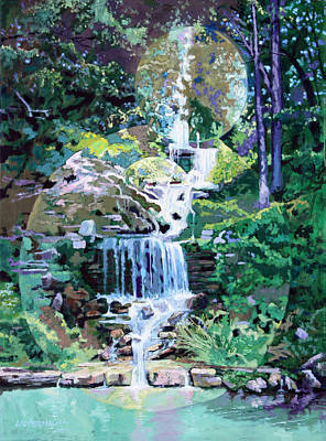 Painting - Forest Park Waterfall by John Lautermilch