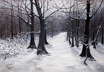Forest Path In Winter Art Print