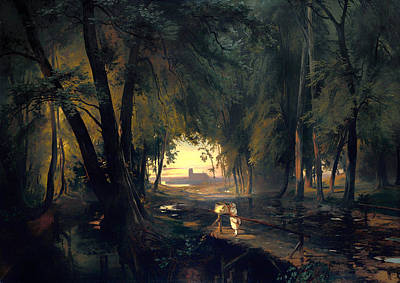 Beautiful Creek Painting - Forest Path Near Spandau by Mountain Dreams