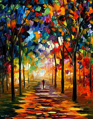 Forest Path - Palette Knife Oil Painting On Canvas By Leonid Afremov Original by Leonid Afremov