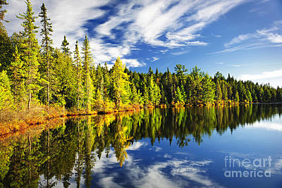 Cloudy Photograph - Forest Reflecting In Lake by Elena Elisseeva