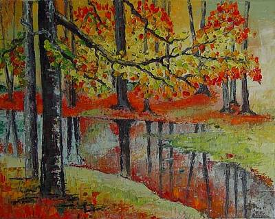 Forest Reflection Print by Lisa Elley