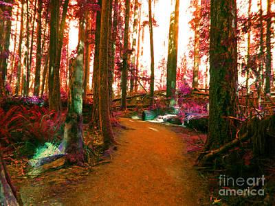Soil Digital Art - Forest Road by Calysta C